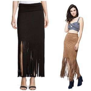 Black Fringe Faux-Suede Maxi Skirt-Fits like Small